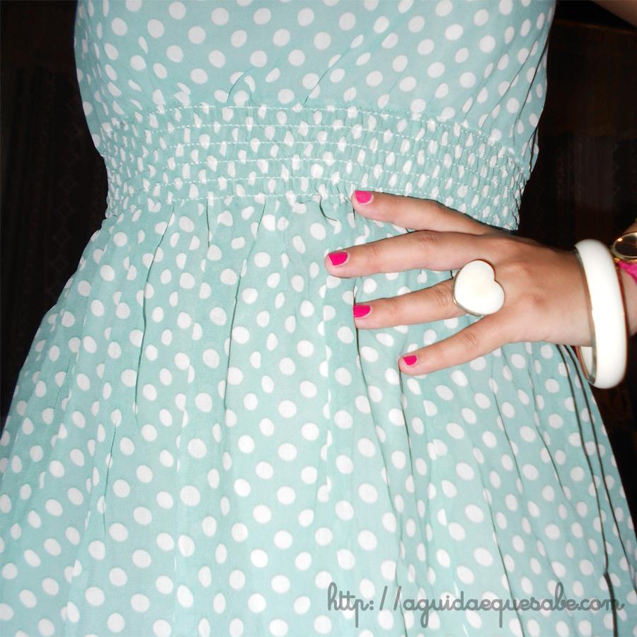 vestido low cost china sammydress bolinhas pintas menta polka dots vintage pinup acessórios primark pulseira anel coração