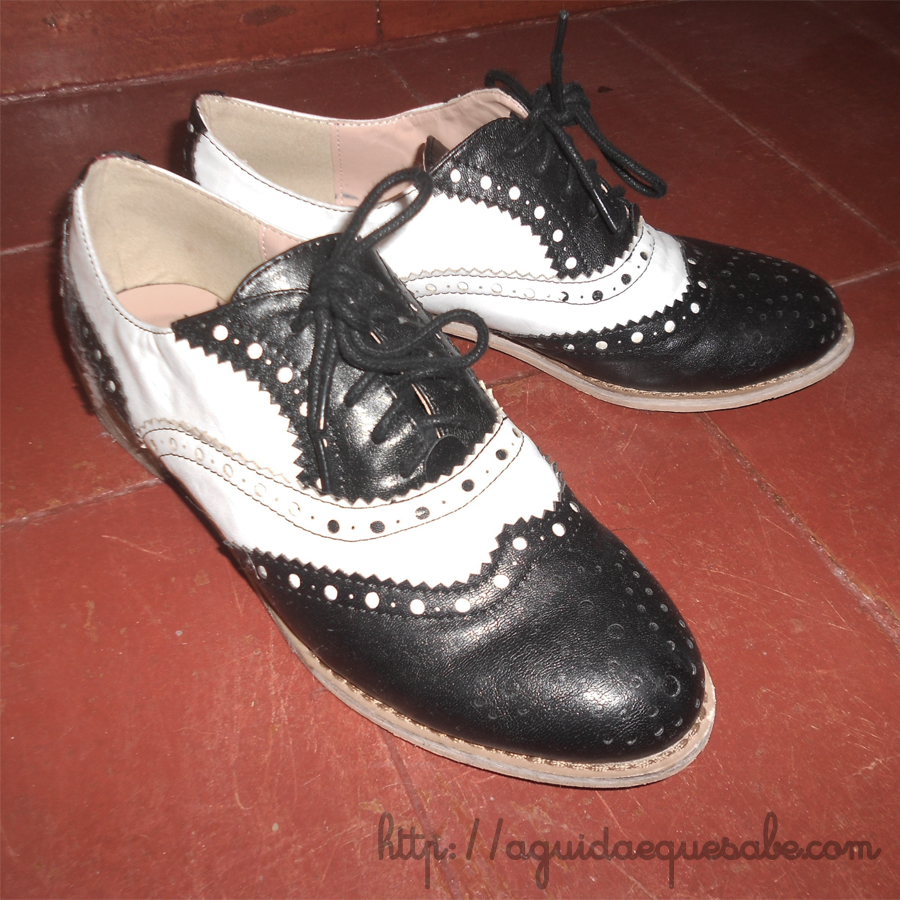 Sapatos Oxford Shoes fred astaire preto e branco brogues