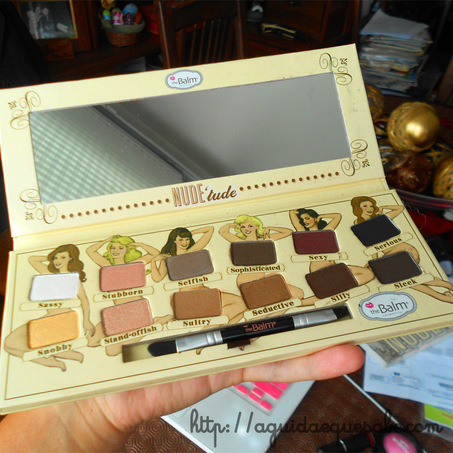 maquilhagem beleza the balm nude tude dude beach swatch review paleta sombras