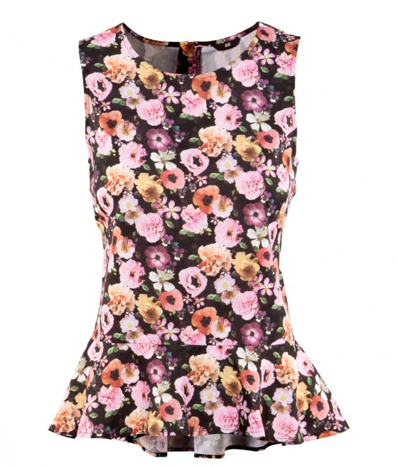 moda lotd ootd look do dia outfit h&m hm blusa floral peplum