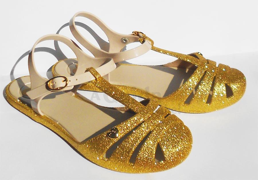 melissa mel zaxy sandálias marshmellow purpurinas dourado moda lotd ootd look do dia sapatos