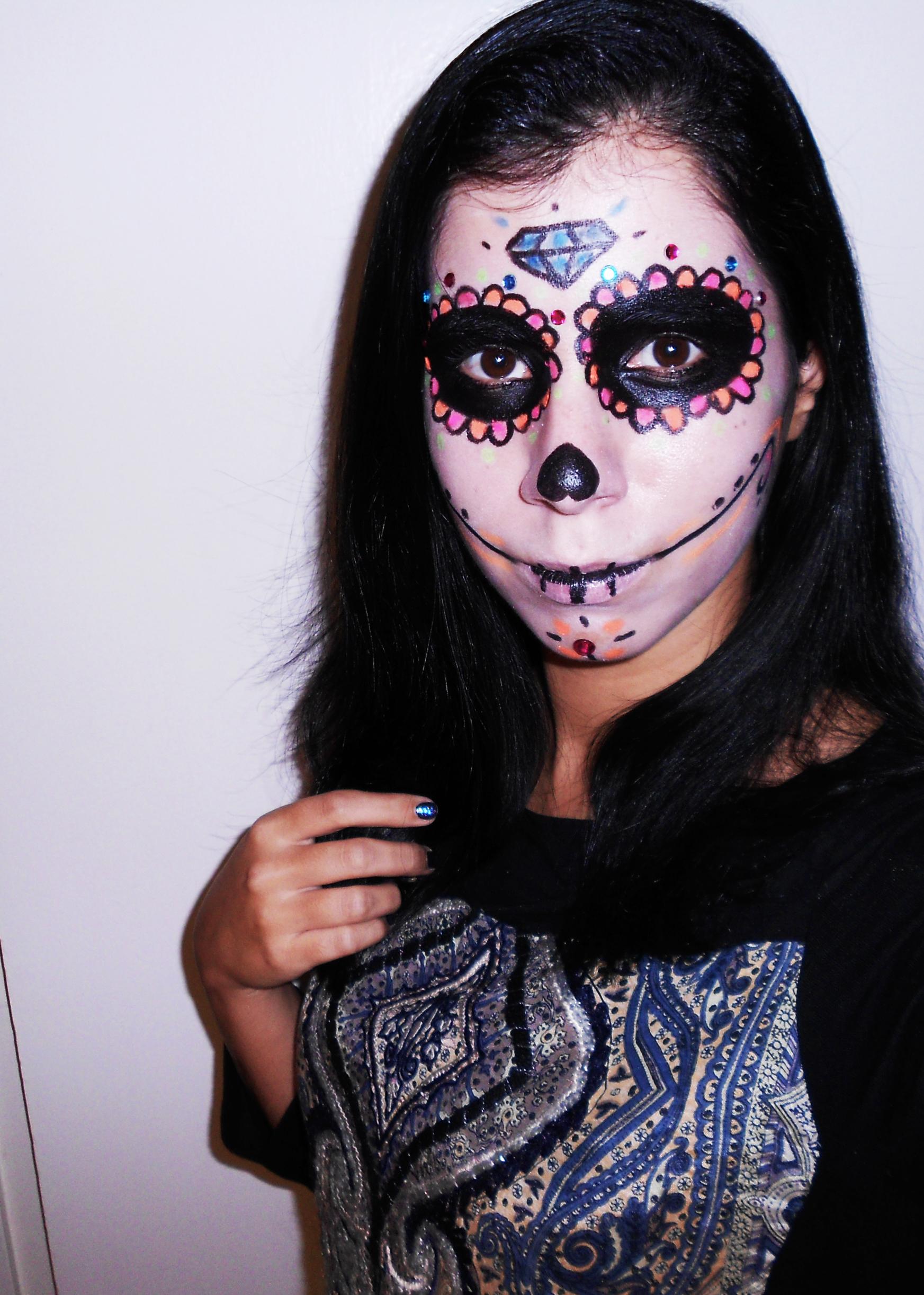 calavera halloween dia de los muertos maquilhagem makeup diy máscara maquiagem tutorial beleza beauty blog dia das bruxas carnaval disfarce pintura
