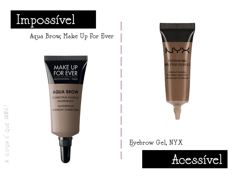 Make Up For Ever Dupe nyx sobrancelhas aqua brow eyebrow gel tutorial review opinião resenha swatch